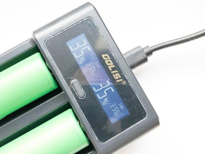 i2スマート充電器のディスプレイ